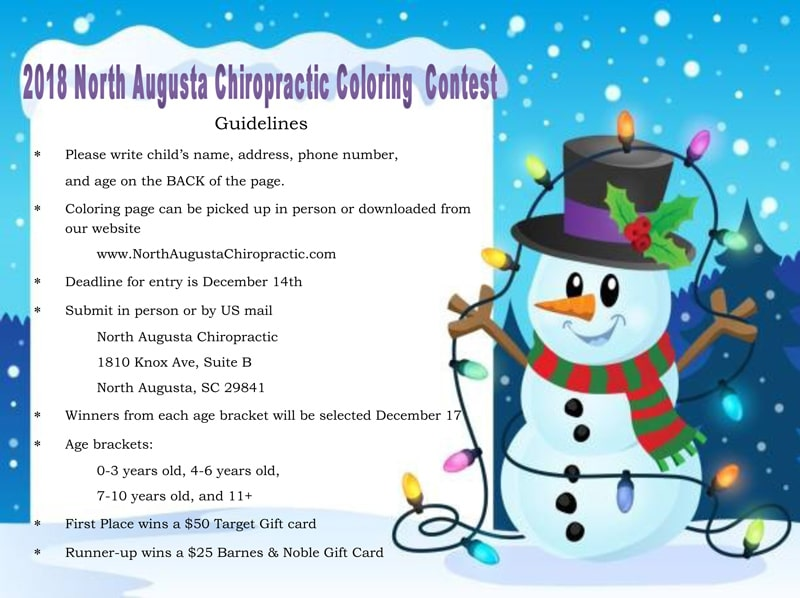 Coloring Contest North Augusta Chiropractic