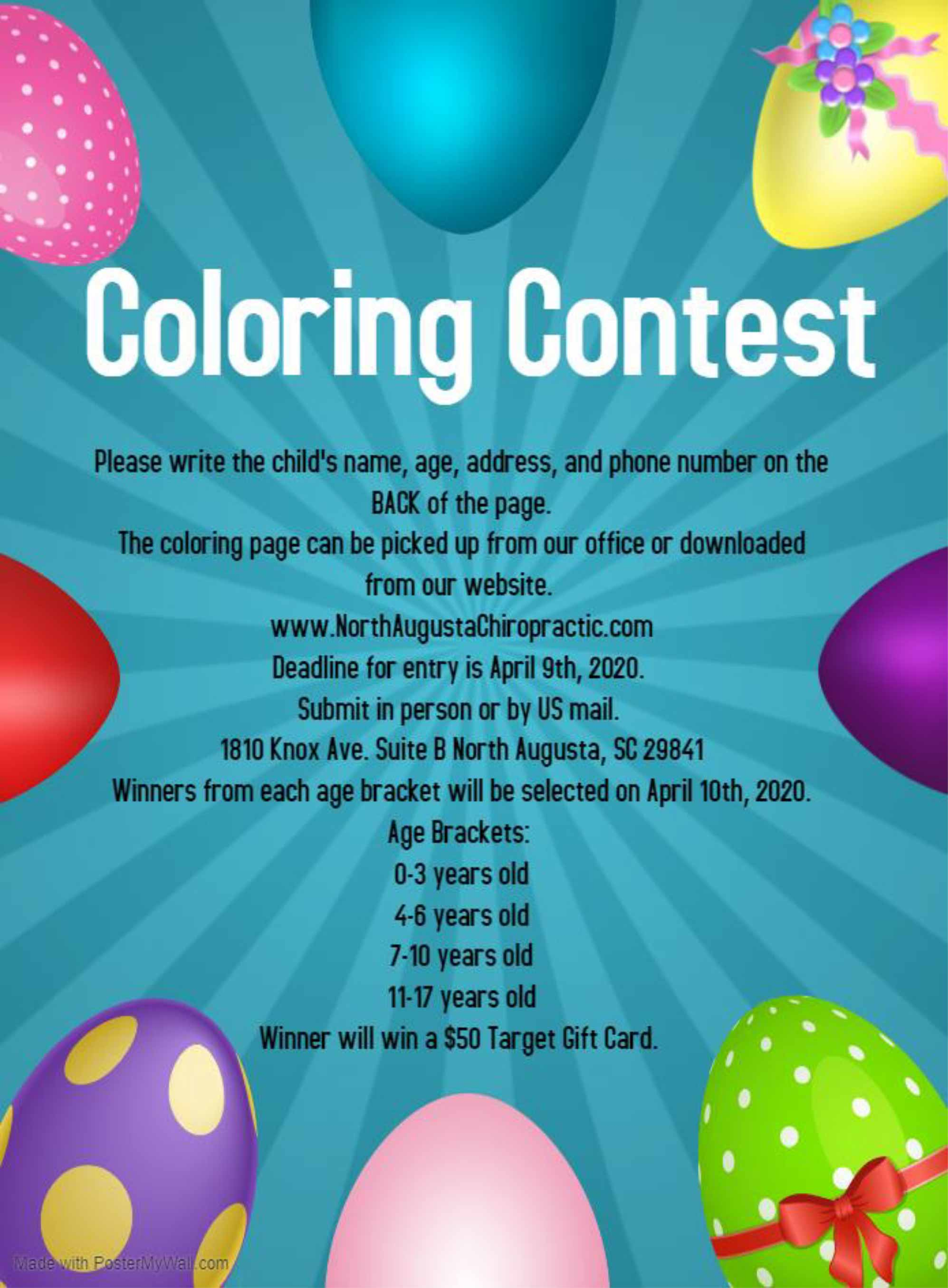 north augusta chiropractic Coloring Contest Flyer march 2020