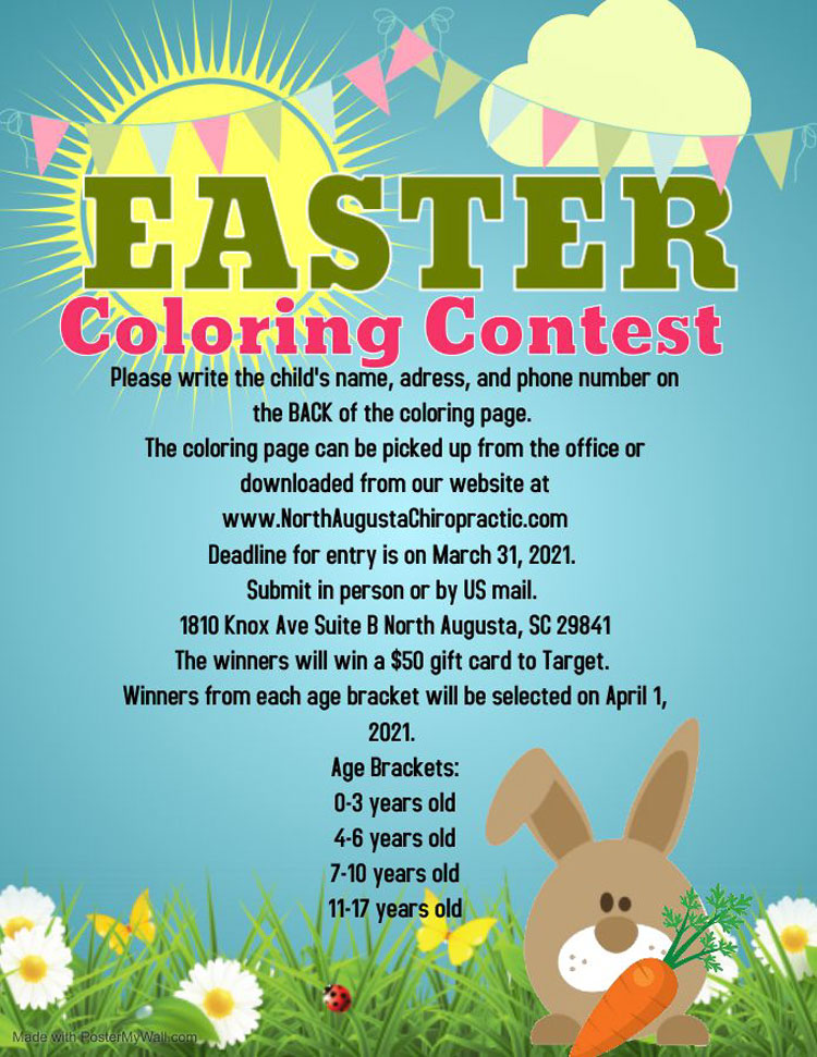 Chiropractic North Augusta CA Coloring Contest Instructions